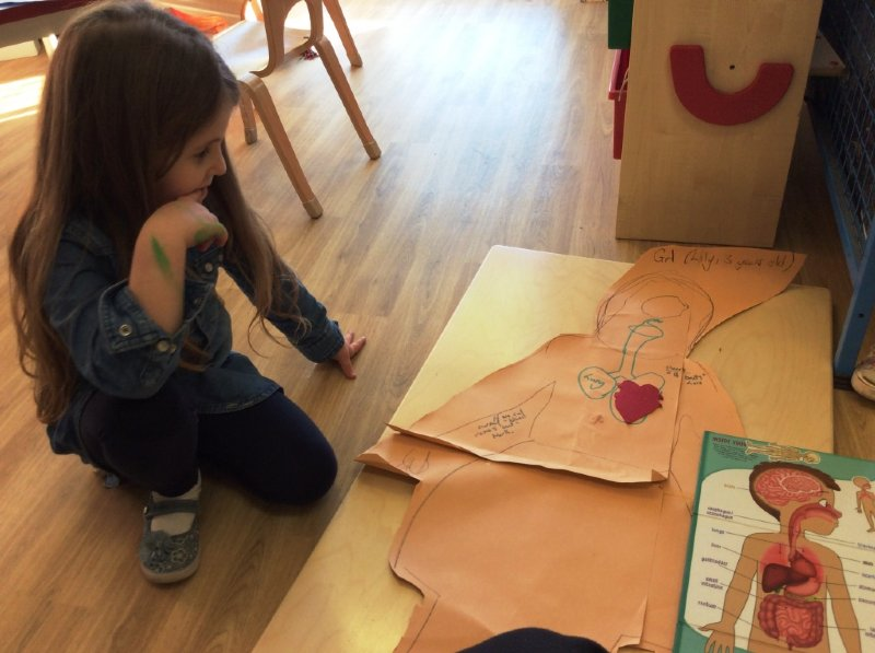 child learning about the body